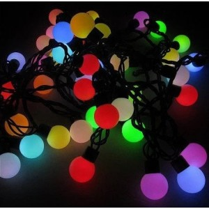 Гирлянда матовый шарик LED 40, 5м, флеш, 18 мм, RGB, провод-черный RD-7102