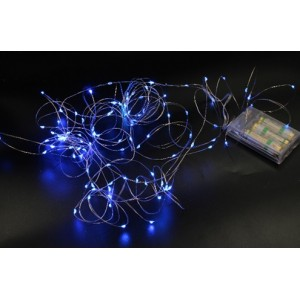 Гірлянда Крапля роси на мідному дроті на батарейках (Xmas Copper Battery box) Led 100, синя, 7290