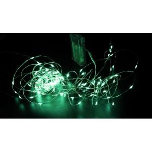 Гірлянда Крапля роси на мідному дроті на батарейках (Xmas Copper Battery box) Led 100, зелена, 7288