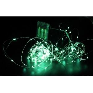 Гірлянда Крапля роси на мідному дроті на батарейках (Xmas Copper Battery box) Led 200, зелений, 7297