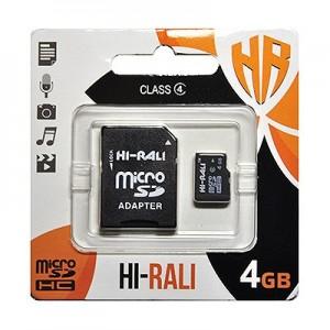 Карта памяти micro SDHC HI-RALI  4GB class 4 (с адаптером SD)