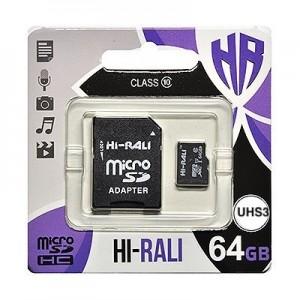 micro SDHC (UHS-3) карта памяти HI-RALI  64GB class 10 (с адаптером)