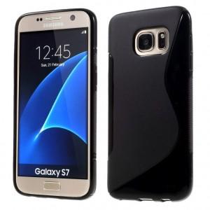 Силиконовая накладка прозрачная Samsung S7 черный