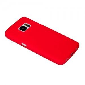 Силиконовая накладка прозрачная Samsung S7 красный