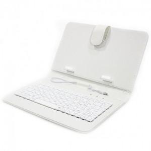 "Обложка-чехол Lesko для планшета 7"" с клавиатурой micro USB White"