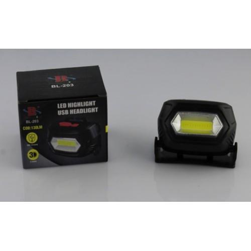 Налобний ліхтар BL 203 COB USB CHARGE