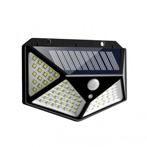 Вуличний настінний світильник BL CL 100, 100led  на сонячній батареї з датчиком руху