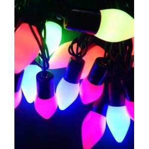 Гирлянда матовый конус LED 28, 5м, флеш, 10мм, RGB, провод-черный RD-7100