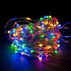 "Гирлянда на медной проволоке ""Капля росы"" LED 100, RGB, провод-серебро, 10м (батар)  RD-7111"