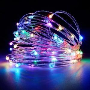 """Гирлянда на медной проволоке """"Капля росы"""" LED 100, RGB, провод-серебро, 10м  USB RD-7112"""