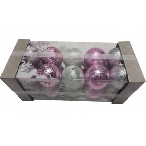 Набор елочных игрушек Микс серебристых и розовых шаров, 5 см