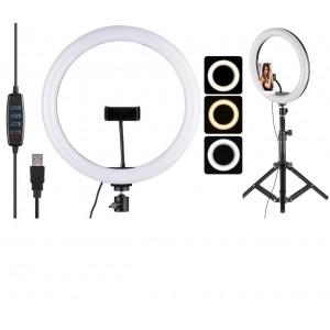 Кольцевая LED лампа LC-666  (1 крепл.тел.) метал. шарниры USB 26 см