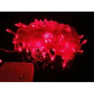 Гирлянда LED 200 красная, прозрачный провод