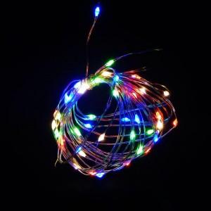 Гирлянда LED 50 RGB на 3 батарейках, проволока