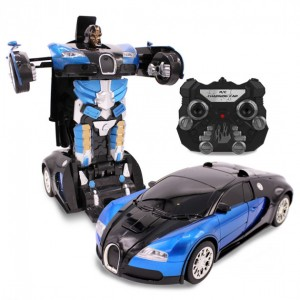 Машинка Трансформер Bugatti Robot Car Size 18 NEW СИНЯЯ (48)