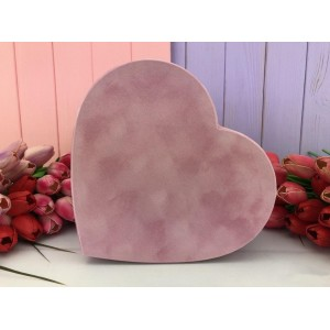 "Бархатная коробка в форме сердца ""Velvet"" розовая 3 шт."