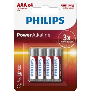 Батарейка Philips Power Alkaline AAA BLI 4