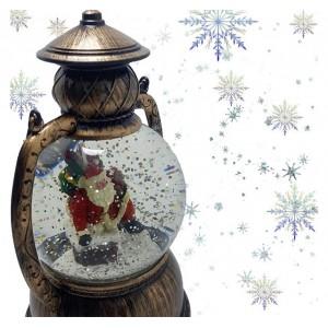 Декоративный новогодний фонарь круглый Санта с подарками
