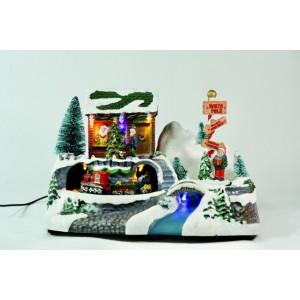 Домик Санта Клауса (светится и крутится)