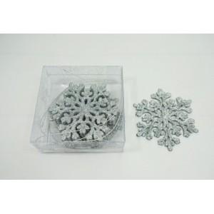 Елочные игрушки (снежинка в блестках)