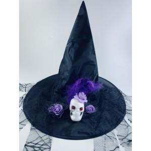 Колпак ведьмы с черепом и фиолетовыми розами