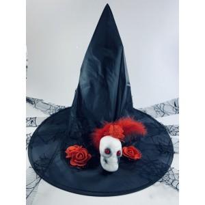 Колпак ведьмы с черепом и красными розами