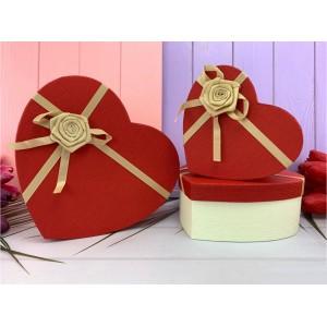 """Коробка в форме сердца """"Бантик роза"""" красная 3 шт."""