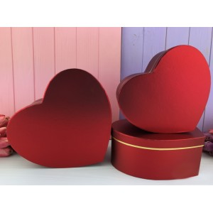 """Коробка в форме сердца """"Металлик"""" красная 3 шт."""