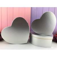 """Коробка в форме сердца """"Металлик"""" серебро 3 шт."""