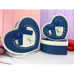 """Коробка в форме сердца """"Mill#5"""" синяя 3 шт."""