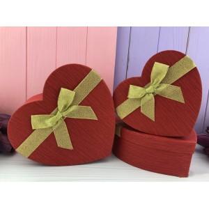 """Коробка в форме сердца """"Texture"""" красная 3 шт."""