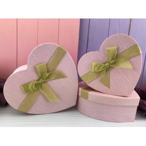 """Коробка в форме сердца """"Texture"""" розовая 3 шт."""