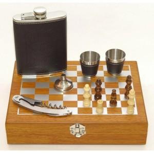 Мужской подарочный набор с флягой и шахматами QZ8