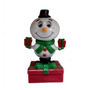 Сувенир Танцующий Снеговик с подарками на солнечной батарее