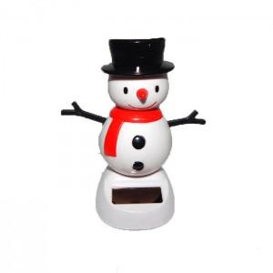 Сувенир Танцующий Снеговик в шляпе на солнечной батарее