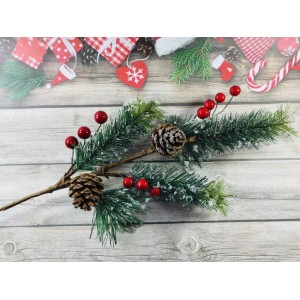 Веточка новогодняя , в снегу с шишками