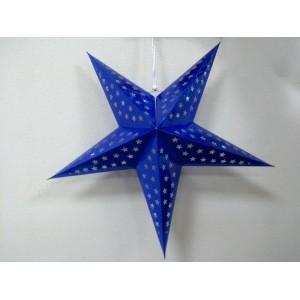 Бумажная синяя звезда для декора 60 см