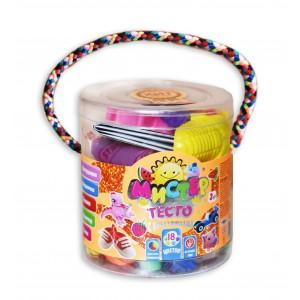Набір тіста для ліпки 71102, Містер тісто 18 кольорів з блискітками, у блістері 10*11см