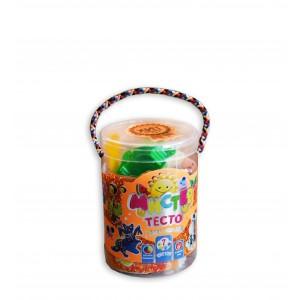 Набір тіста для ліпки 71106, Містер тісто 7 кольорів з блискітками, у блістері 7*11см