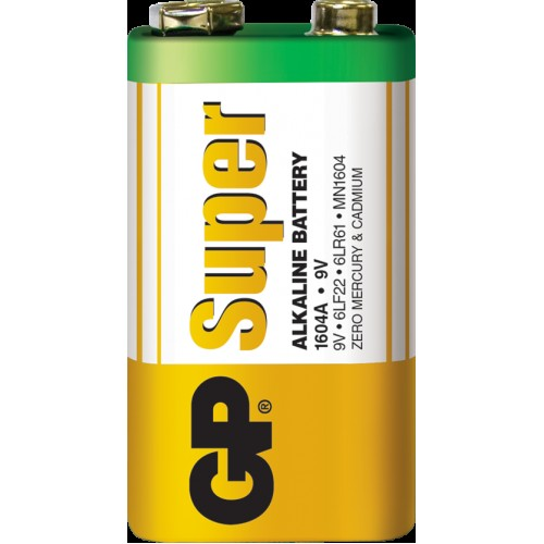 Батарейка GP Super Alkaline 1604A/6LF22, 6LR61, 522