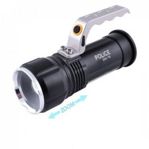 Фонарь BL-004-T6+COB, ЗУ 220V/12V, 2x18650, zoom, Box