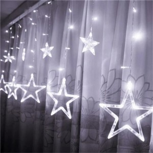 Гирлянда штора Звезда холодный белый, 12PCS