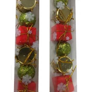 Набор елочных игрушек Микс с красными подарками, 3 см