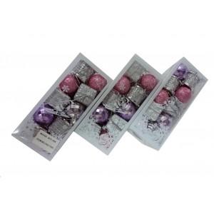 """Набор елочных игрушек """"Violet-pink miks"""", 3 см"""