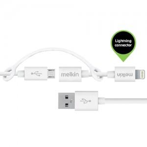 Кабель micro usb +apple Melkin M8J080 + Lighting adapter 0,9 м Белый