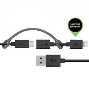 Кабель micro usb +apple Melkin M8J080 + Lighting adapter 0,9 м Черный