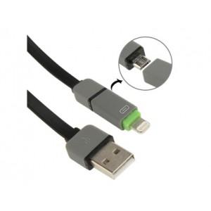 Комбинированный кабель для iPhone/Samsung 1м. (цвета в ассортименте)