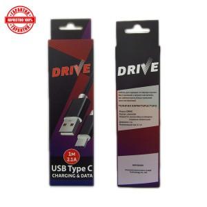 Кабель DRIVE Type-C 1м./2.1 mA тканевой оплетке для зарядки и передачи данных Black