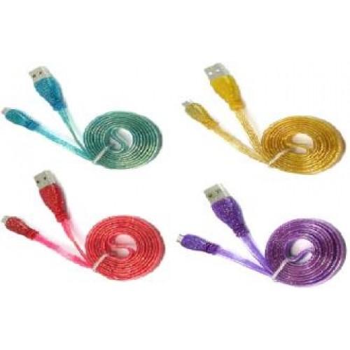 Кабель micro USB глитер