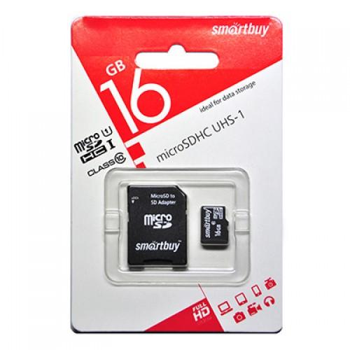 Карта памяти 16GB Smartbuy micro SDHC (UHS-1) Сlass10 с адаптером SD